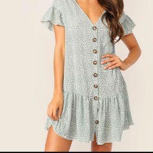 Button Down Flouncy + Silky Dress